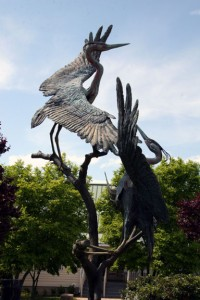Great Blue Herons, Quiet Waters Park (bronze, 1991) by Pam Foss