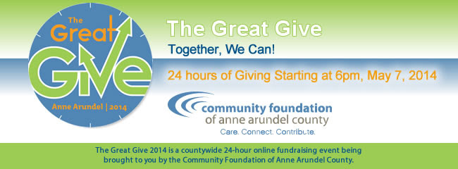 Great Give 2014 Is Just 1 Day Away! The Great Give 2014 - a 24-hour online giving event hosted by the Community Foundation of Anne Arundel County (CFAAC) - kicks off at 6 PM on Wednesday. In 2013, Anne Arundel County came together and raised over $606,000 for 118 local nonprofits through the Great Give. This year, we're aiming to raise $1,000,000 for the 170 local participating nonprofits. Together we did it in 2013. Together we can do more in 2014!   Its a great way to support the Friends of Quiet Waters Park and your other favorite nonprofits.